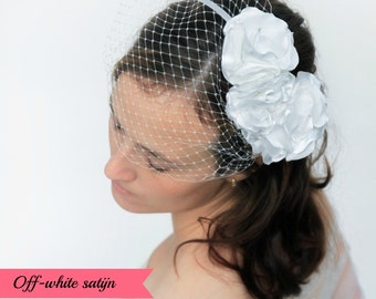 Birdcage veil, flower headband, wedding headband, bridal headband, bridal headpiece, wedding veil, hairaccesory, bridal accessory