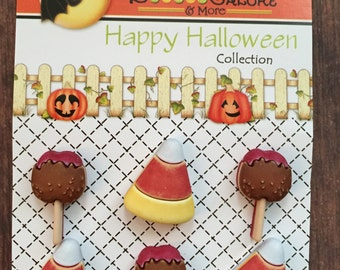 """Halloween Buttons, Candy Corn and Taffy Apple Buttons, """"No Tricks...Just Treats"""" Carded Shank Back Buttons by Buttons Galore, #102"""