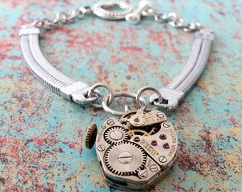 Watch Part Bracelet, Silver Bracelet, Sellita Watch Band Bracelet, Watch Band Bracelet, Steampunk Bracelet, Silver Jewelry, Watch Movement