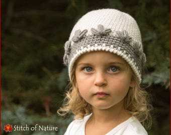 Crochet PATTERN - The Montrose Beanie Pattern, Girls Hat Pattern  (Baby to Adult sizes) - id: 16049