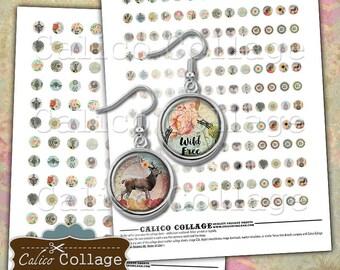 Boho Digital Collage Sheet, 10mm Circles, 12mm Circles, 10mm Collage Sheet, 12mm Collage Sheet, Instant Download, CalicoCollage