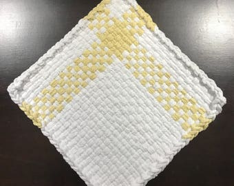 Handmade Large Farmhouse Potholder in White and Daffodil