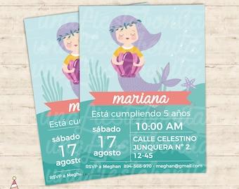 Sea mermaids invitation