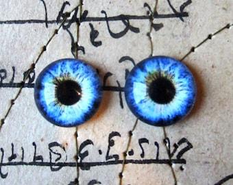 Pair of Taxidermy Glass Dragon, Human, Monster, Doll, Bear Craft Eyes, Blue 10mm, 14mm, 16mm