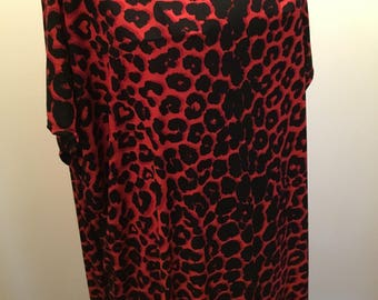 Red black/Leopard print/Caftan/Dress/Kaftan/Long dress/size AU 10-16/Casual dress/Party dress
