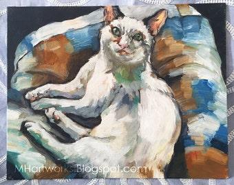 Original Oil Painting: Lounging Cat