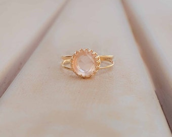 Mother Day Sale - Rose Quartz ring - Natural Rose Quartz ring - Rose gemstone ring - Gold ring - Gold Rose Quartz ring - Valentines Day