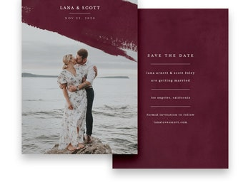 Photo Save the Date/Photo Wedding STD/Marsala Save The Dates/Save-The-Date/Marsala Save the Date/Marsala/Typography/Modern