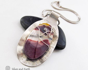 Mookaite Sterling Silver Necklace, Burgundy Gemstone Pendant, Handmade Artisan Silver Jewelry, One of Kind Gift, Silver & Stone Jewelry