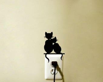 Cat and Kitten Vinyl Decal Sticker Light Switch Kids Nursery Room Decor