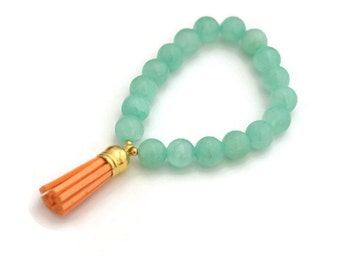 Mint green bracelet, leather tassel, tassel bracelets, bohemian bracelet, tassel charm, peach tassel, handmade in canada