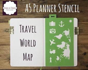 A5 Planner stencil - travel stencil -world map - reusable - bullet journal / happy planner / template