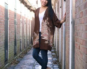 Japanese Kimono Jacket | Silk Kimono Robe | Kimono Cardigan | Boho Jacket | Haori | Brown Kimono | Floral Kimono |