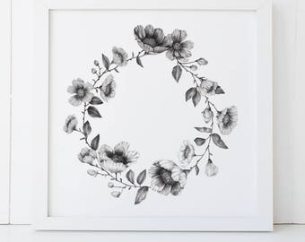 Floral Ring Wreath Wild Rose 12x12 Fine Art Archival Print
