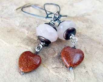 Pink heart earrings, mixed metal, goldstone, and pink quartz on large sterling silver kidney wires