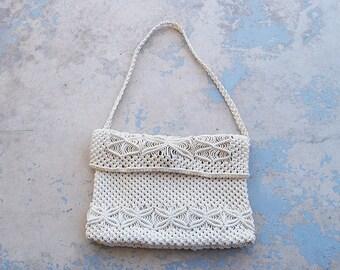 vintage 70s Crochet Bag 1970s Boho Crochet Shoulder Bag Purse