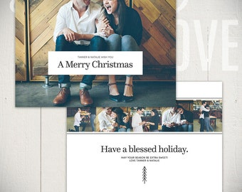 Christmas Card Template: Urban Holiday C - 5x7 Holiday Card Template for Photographers