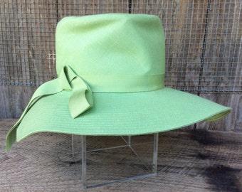 Apple green linen summer hat with brim