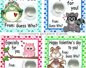Valentine's Day cards Custom Scratch Off game Cards Valentine Party Game Classroom Valentine Cards Valentine Scratch cards 12 Precut printed