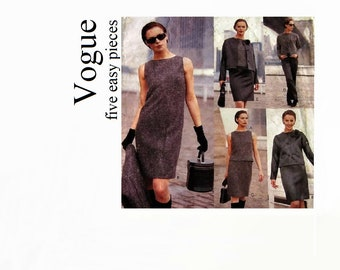 Vintage Vogue Sewing Pattern-Very Easy Vogue Pattern 1687-Sheath Dress Jacket Top Skirt Pants-Size 6/8/10 Original Vogue Pattern 1995