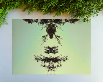 Printable art, digital download, mirror photograph, botanical wall art, greenery, mirror image, antler photograph, deer, deer photograph