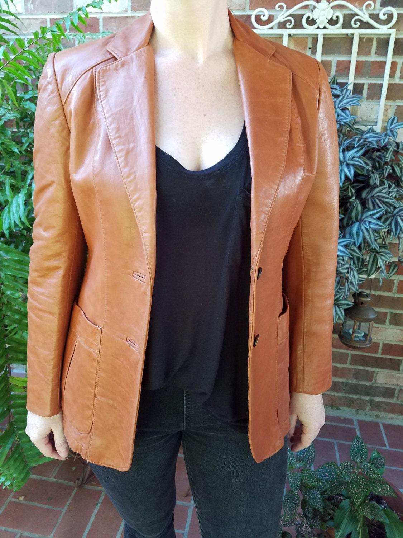 Vintage Men's Leather Blazer 70's Brown Leather Jacket Super Fly Hipster Jacket Size 40 Made by Ambassador N9UeL