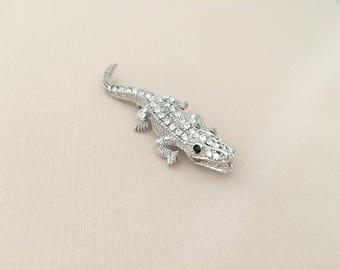 Alligator Brooch.Alligator Rhinestone Brooch.Crystal Brooch.Alligator Pin.Silver Alligator Brooch.Broach.Crocodile Brooch.animal.wedding