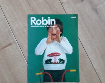 Robin 13040 Frogs and Toadstool Sweater Knitting Pattern For Children