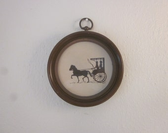 Vintage Silouette with Horse and Carriage in Round Frame