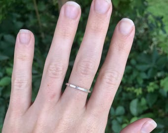 Square Wedding Band - Sterling Silver Stacking Ring - Bohemian Festival Jewelry - Oxidized Silver - Sterling Stackers - Thin Single Band