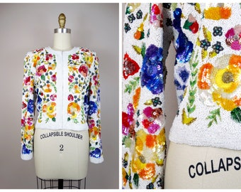 HEAVY Beaded Spring Bouquet Sequin Bolero Jacket / Bright Floral White Sequined Beaded Cropped Jacket