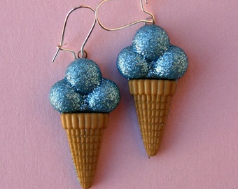Miniature Ice Cream Cone Earrings - Shimmery Blueberry Ice Cream Cones