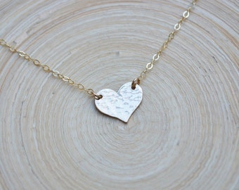 Gold Heart Necklace, Gold Hammered Heart Necklace, Heart Necklace, Hammered Heart Necklace,  Valentine's Gift Necklace