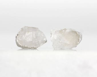 raw crystal studs | raw quartz earrings | april birthstone studs | april birthstone earrings | herkimer diamond earrings | quartz studs