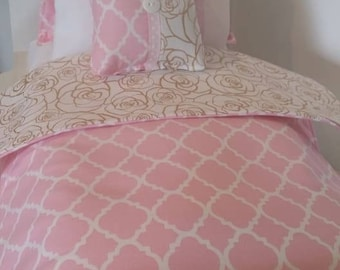 "18"" Doll Bedding Set, Pink and Gold Roses Doll Bedding, Made to Fit 18"" Dolls Such as The American Girl Dolls"