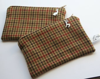 Brown and green tweed and handmade purse.  Brown, green, tweed, hare, rabbit, stag, tartan. Phone case.  Birthday gift Christmas gift
