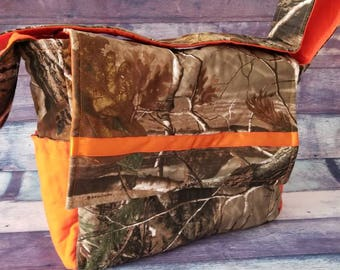 Ready to ship Realtree Camo Diaper Bag, Realtree Camoflauge Diaper Bag, Realtree Orange diaper bag