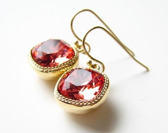 Swarovski Cushion Cut Padparadscha Dangle Earrings. Valentnes Day Gift. Drop Earrings. Simple Modern Jewelry by Smallbluethings