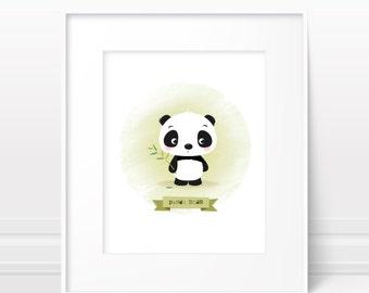 Panda nursery art print - animal nursery print, baby boy art, kids room decor, new baby gift, baby shower gift, cute panda art, cute animals