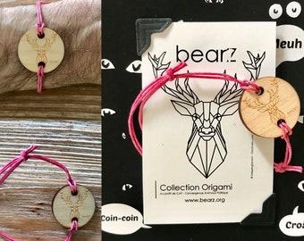 Origami deer wooden bracelet