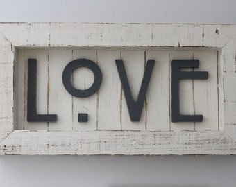 Love Sign, Large Sign, Farmhouse Sign, Home Sign, Eat Sign, Reclaimed Wood Signs, Wedding Gift, Joy Sign, Anniversary Gift, Wedding Signs
