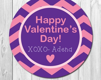 Valentine Day Sticker Labels, Personalized Valentine Favor Stickers for Kids Classroom Treats