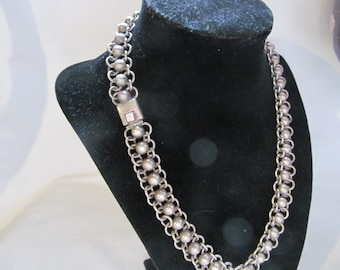 WOW Sterling Silver Necklace 925 Designer Signed Heavy Quality Sterling Silver Jewelry Chainmail Chainmaille Heavy Sterling Silver Necklace