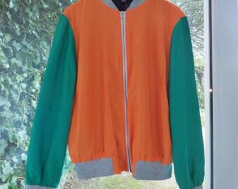 SALE!! Orange and Green Bomber Jacket by KJS STUDIO S/M uk seller, zipper, zips