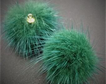 FLC-04/ 2pcs- mink fur with cap ring- Teal green