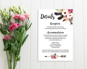 Boho Floral Wreath Wedding Details Card, Printable Wedding Detail Insert Card, Feathers Boho Details Card, Information Card Download, 111-W