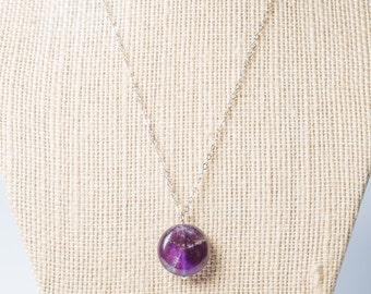 Long Purple Amethyst round pendant sterling silver necklace, birthstone, semiprecious
