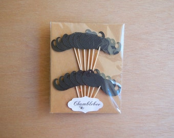 CLEARANCE. Black Moustache Cupcake Toppers.