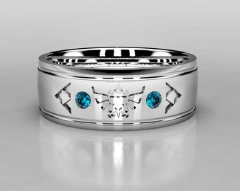 Legend of Zelda Tribute Blue Diamond Wedding Ring, Zelda Wedding Band in Gold or Palladium, Size 10 ring, Size 8 ring Mens Diamond Ring