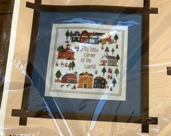 Corner of the World Vintage Counted Cross Stitch Kit by Creative Circle - retro embroidery kit, house cross stitch, vintage sampler kit